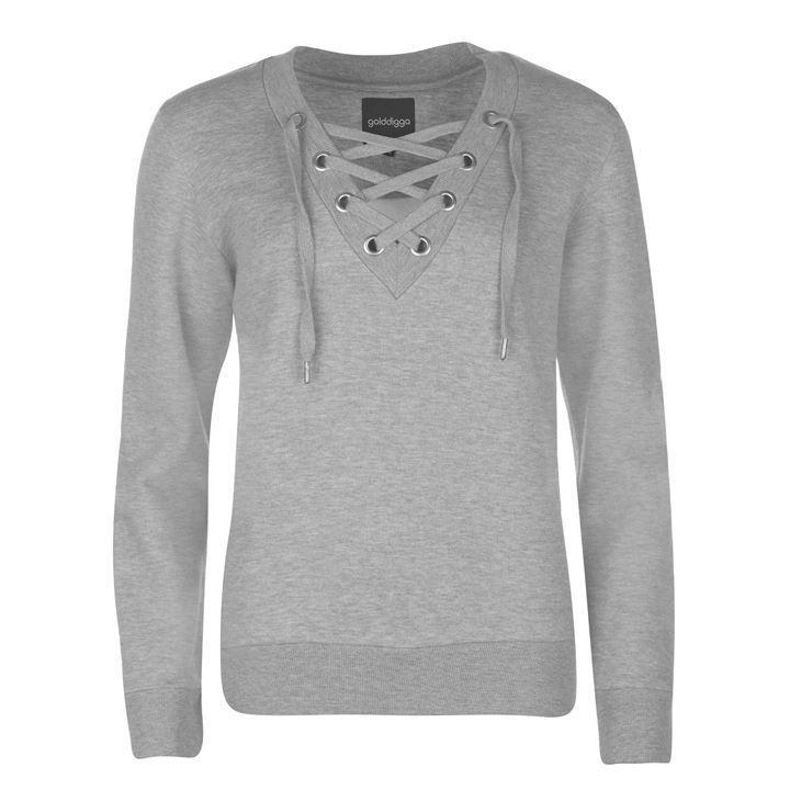 Golddigga Lace Up V Neck Sweater Ladies