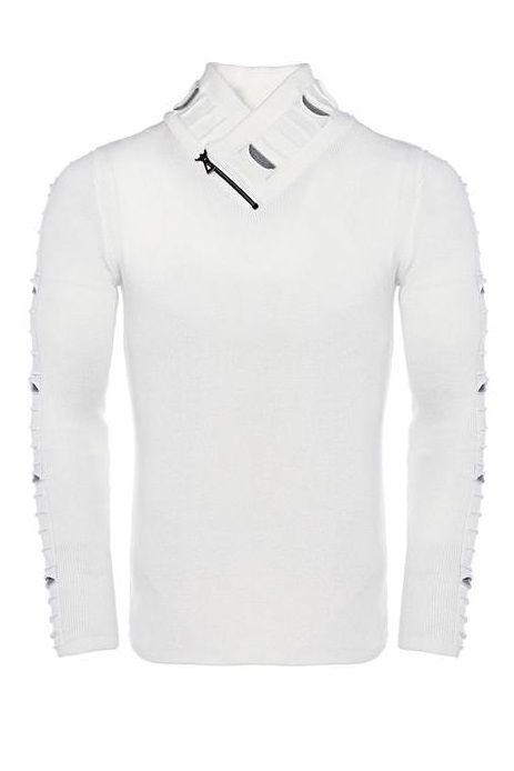 CARISMA pánský svetr ke krku bílý 7748