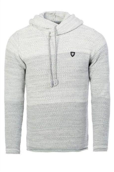 CARISMA pánský svetr s kapucí šedý 7396